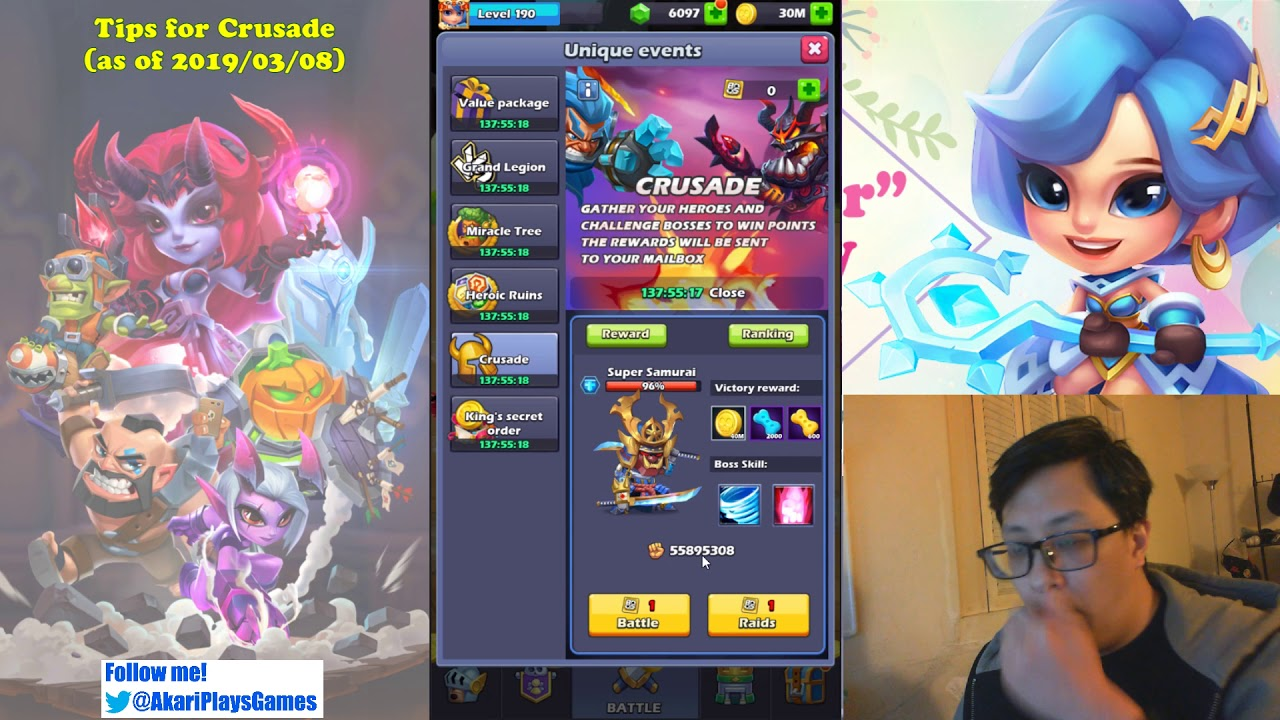 Taptap Heroes - Tips for Crusade! (as of 2019/03/08)