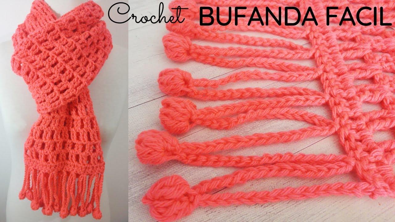 Bufanda Fácil A Crochet Con Flecos De Pompones Youtube
