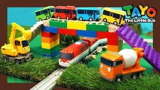 Мощные большегрузные автомобили l построить радужный мост с  автомобили l Приключения Тайо