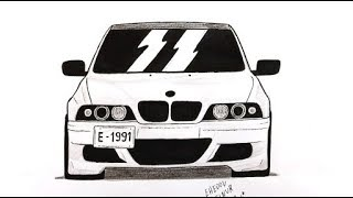 Как нарисовать машину BMW E 39 поэтапно (Ахадов Эльнур) How to draw a car BMW