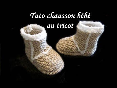 les tutos de fadinou tuto chausson bottes bebe au tricot facile. Black Bedroom Furniture Sets. Home Design Ideas