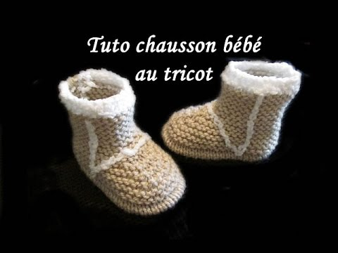 grosses soldes Chaussures de skate ramassé TUTO CHAUSSON BOTTE BEBE AU TRICOT FACILE tutorial slipper baby boot easy  to knit