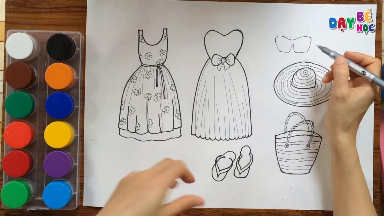 Dạy bé học tập vẽ váy thời trang quần áo mũ giày dép | Day be tap ve vay thoi trang 2 | Day be hoc
