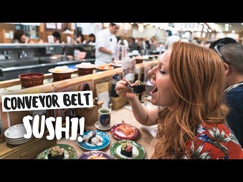 Trying CONVEYOR BELT SUSHI! + Exploring Tokyo, Japan