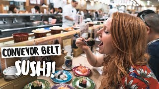 Trying CONVEYOR BELT SUSHI! + Exploring Tokyo, Japan