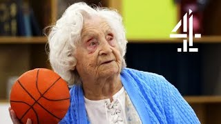 102 Year Old Leaves Her Wheelchair to Shoot Some Hoops! | Old People's Home For 4 Year Olds