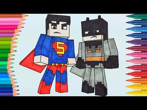 minecraft-batman-y-superman-de-pintar- -dibujos-para-niños- -learn-colors