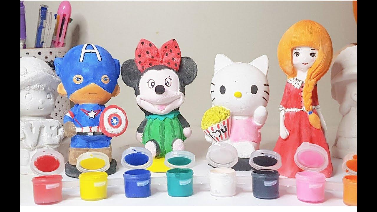 Tô màu tượng mèo kitty, siêu nhân, chuột mickey