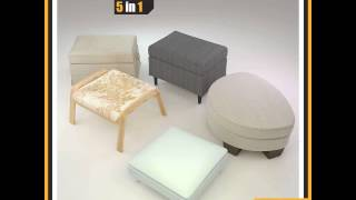 Ikea Footstools And Pouffes ::: 5 In 1 3d Model From Cgtrader.com