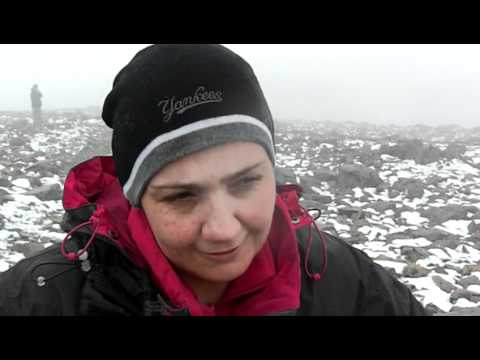 Mrs Happy after her walk on Ben Nevis at the top.MOV