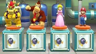 Super Mario Party - 4 Player 2 Vs 2 Minigames - Bowser DK Peach Mario All Minigames (Master CPU)