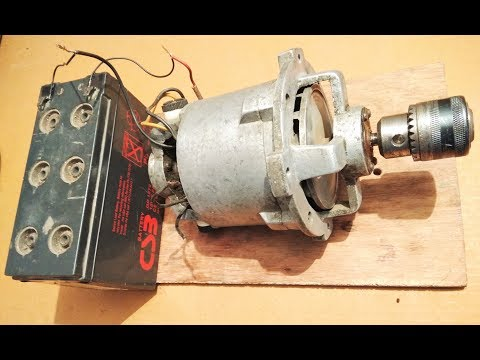 Run a High Torque Mixer Motor as dc motor at 10000rpm with 12v battery diy