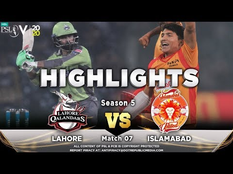Lahore Qalandars vs Islamabad United   Full Match Highlights   Match 7   23 Feb 2020   HBL PSL 2020