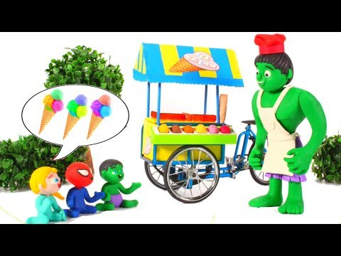 SUPERHERO BABIES SHARE ICE CREAMS 鉂� SUPERHERO PLAY DOH CARTOONS FOR KIDS