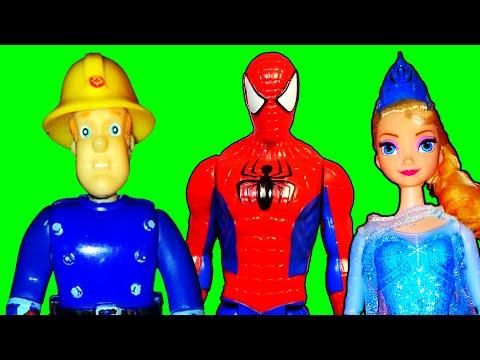 סמי הכבאי ספיידרמן אלזה קונג פו פנדה מיניון פרק חדש של AniManiToys בעברית ,Fireman Sam Spiderman Kun