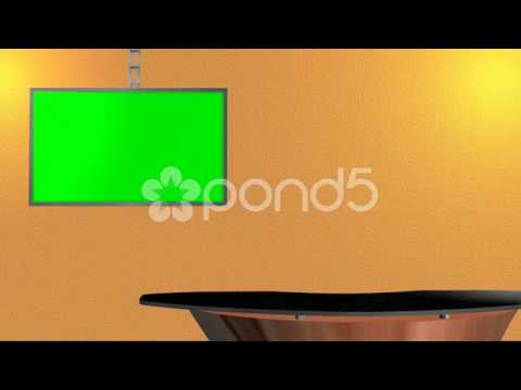 Virtual Studio Background With Green Screen Flat Tv
