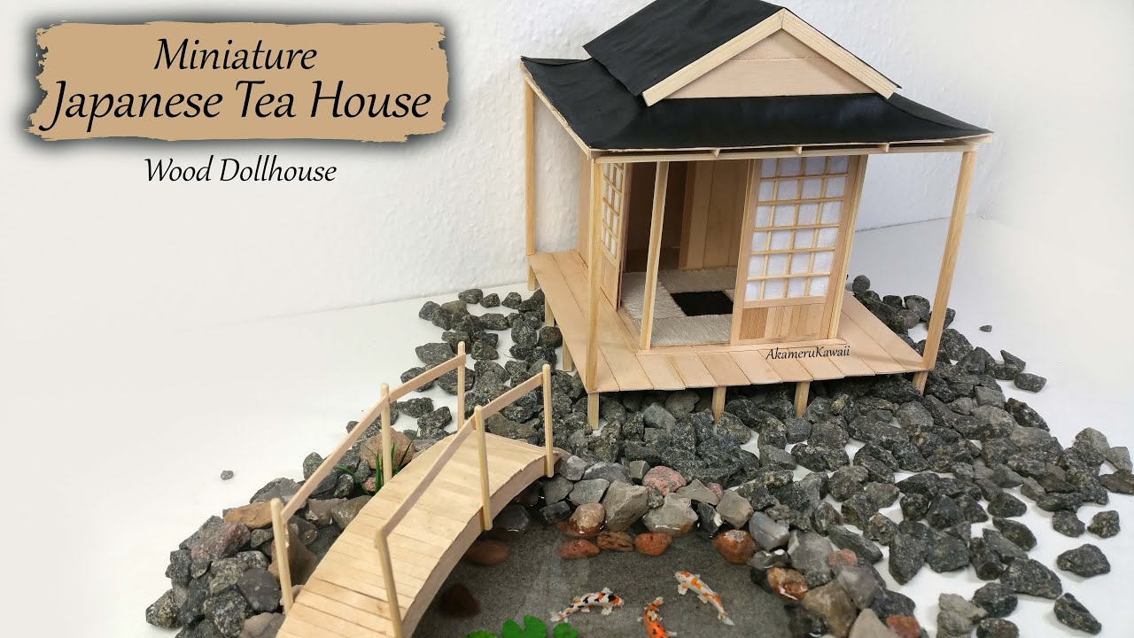 Miniature japanese tea house wood dollhouse tutorial How to build a japanese garden