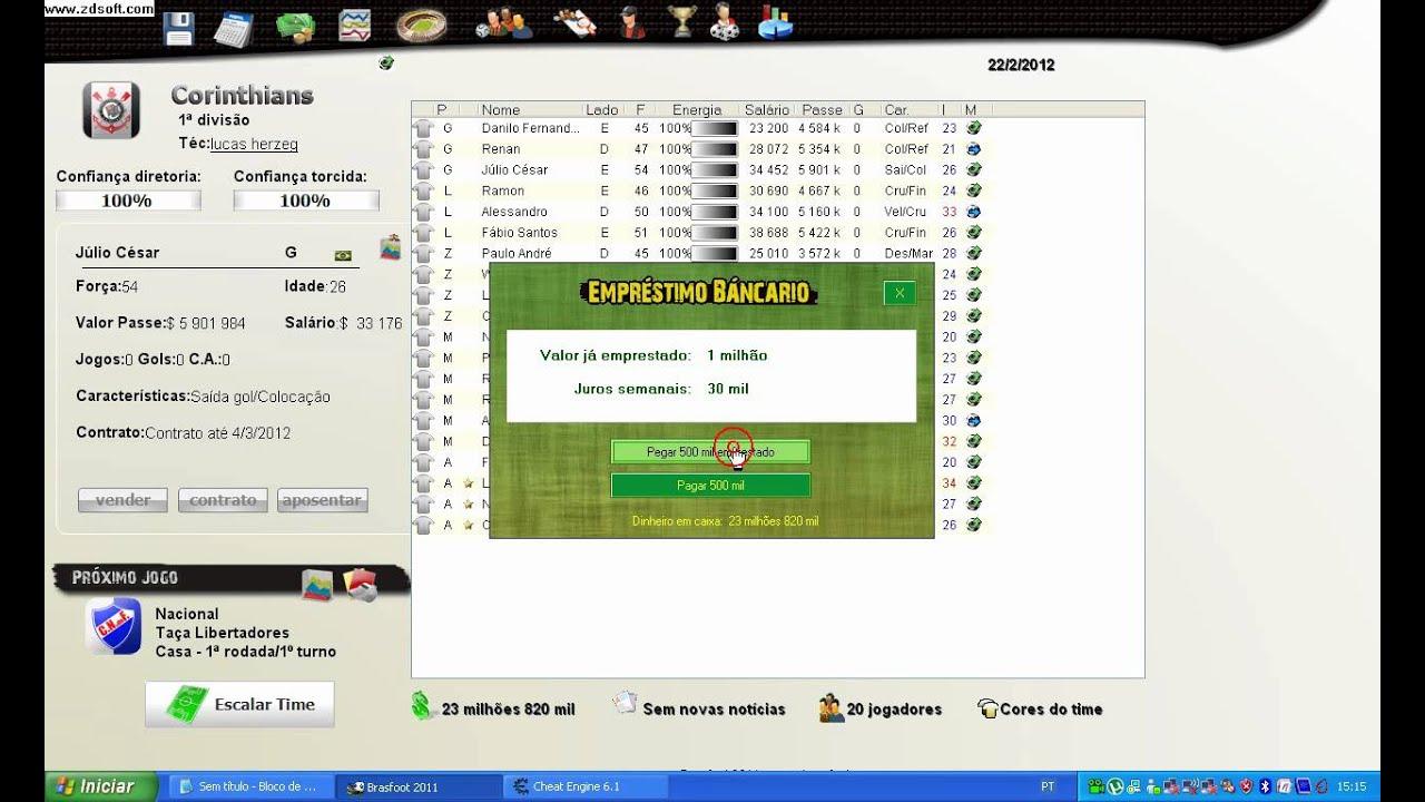 dinheiro infinito para brasfoot 2011