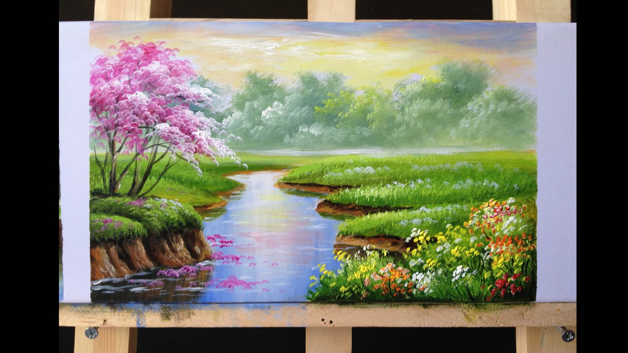 How to Paint Riverbank with Acrylics Lesson 2  YouTube