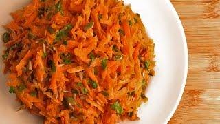 Постный морковный салат с семечками