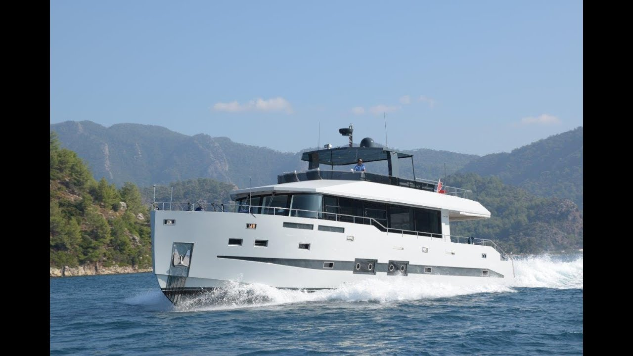 24 m moderne Fast Trawler Motoryacht zum Verkauf Full walk through - YouTube