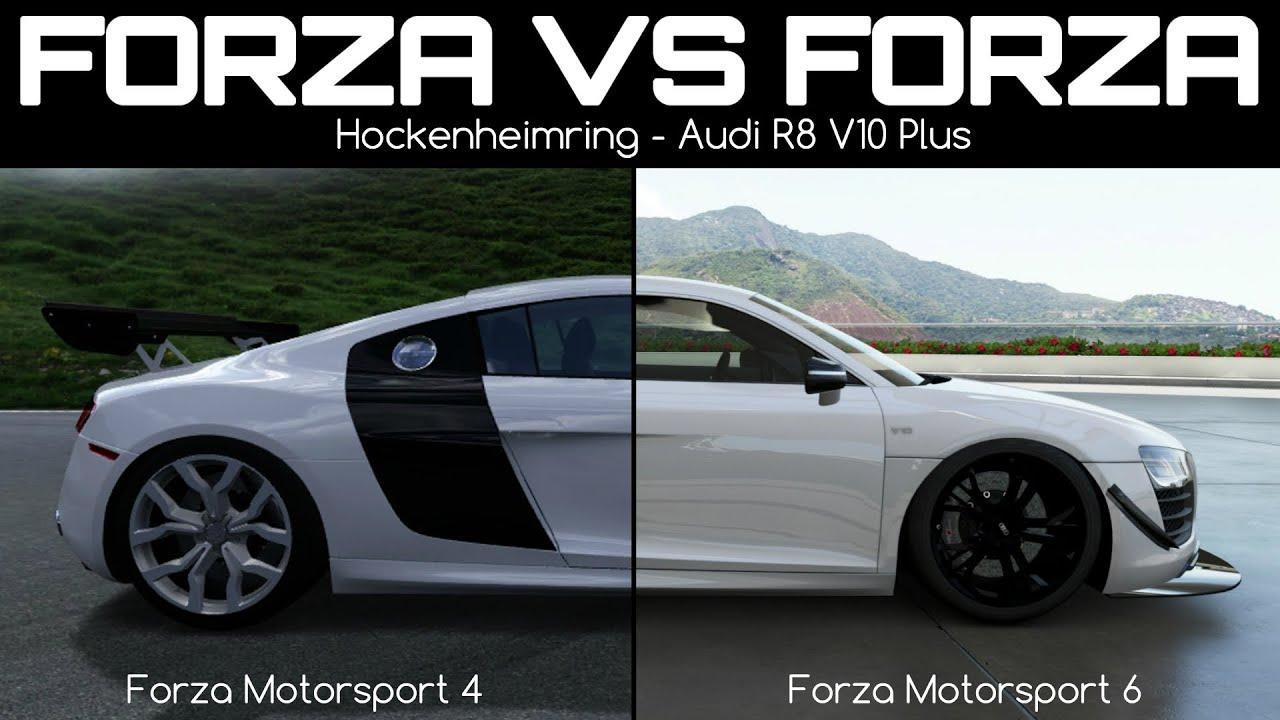 forza motorsport 4 vs forza motorsport 6 audi r8 v10 plus youtube. Black Bedroom Furniture Sets. Home Design Ideas
