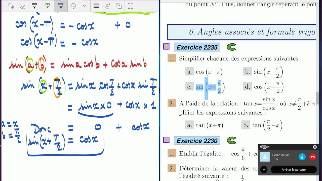 Trigonométrie - 1ère S - exercices corrigés. - YouTube