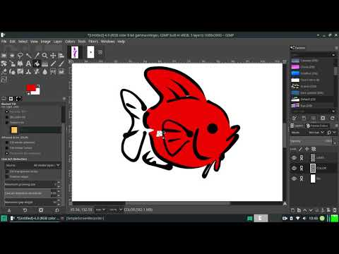 Line art detection, all visible layers, and gap fill in GIMP thumbnail