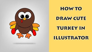 How to draw cute turkey in illustrator CS6 part 1