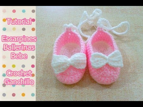 Crochet Tutorial Zapatitos Escarpines : DIY Como tejer escarpines, ballerinas, zapatitos para bebe a crochet ...