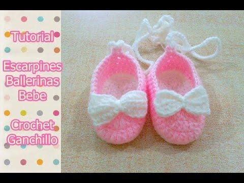 Crochet Tutorial Zapatitos Bebe Escarpines : DIY Como tejer escarpines, ballerinas, zapatitos para bebe a crochet ...