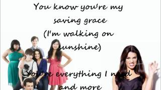 Glee cast - Halo / Walking on sunshine ( LYRICS )