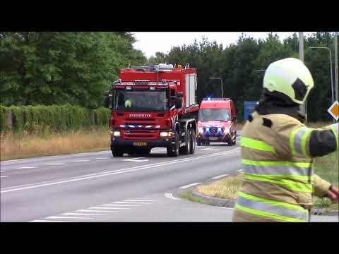 Prio 1 brandweer Woudenberg (TS 09-6441, HA 09-6486+BPH 09-6464, PM676, ABH 09-6483) met spoed brand