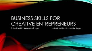 Crea.6101 – Business Skills For Creative Entrepreneurs