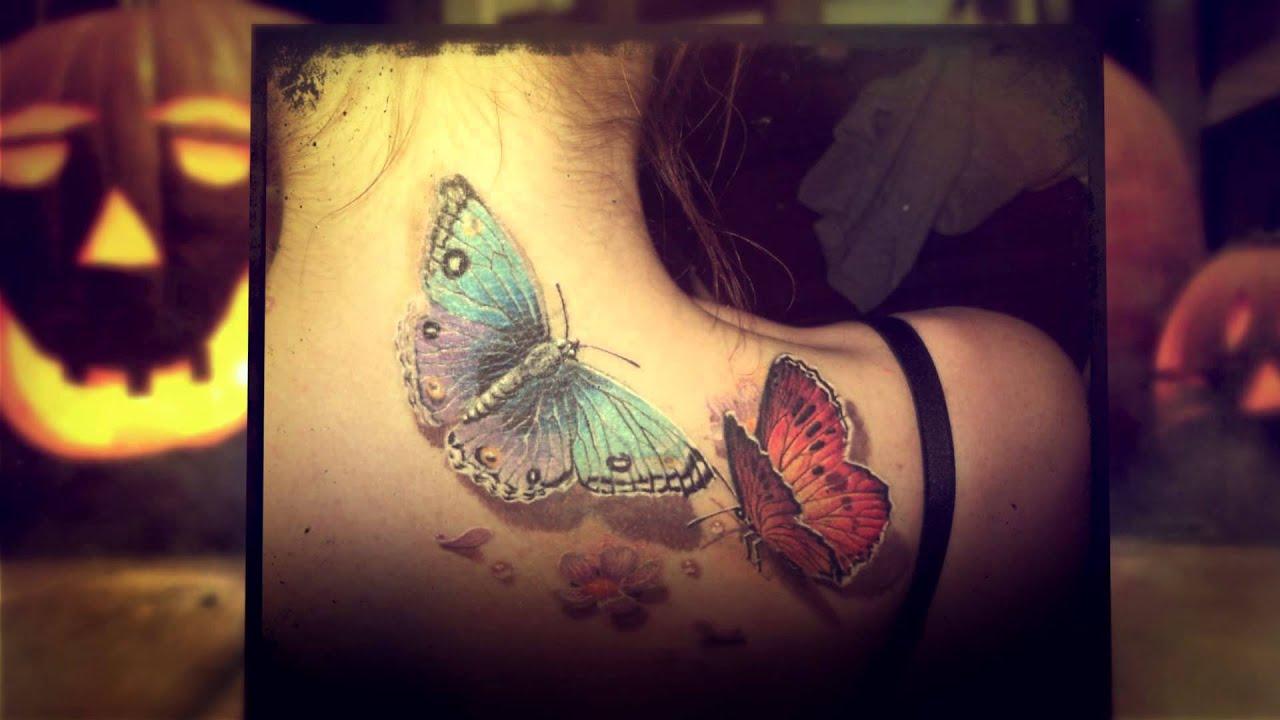 тату фото бабочки на шее