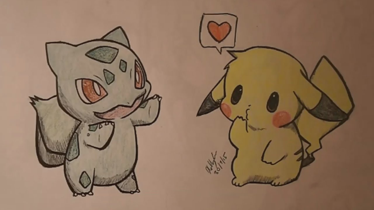 Super Cute Bulbasaur And Pikachu   Speed Drawing   YouTube