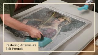 Finishing the relining | Restoring Artemisia Gentileschi