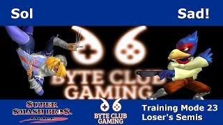 byte club gaming tm23 ssbm sad falco vs sol sheik smash melee winners r1