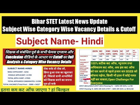 Bihar STET Hindi Paper 1 Category Wise Vacancy Details U0026 Cutoff,Applicants Appeared Candidates,STET