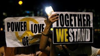 """VOA连线(黎堡):香港人举行大型手牵手""""香港之路""""集会 要构建民主自由之路"""