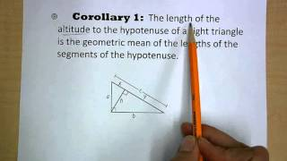 corollary 1 - geometric mean - right triangles