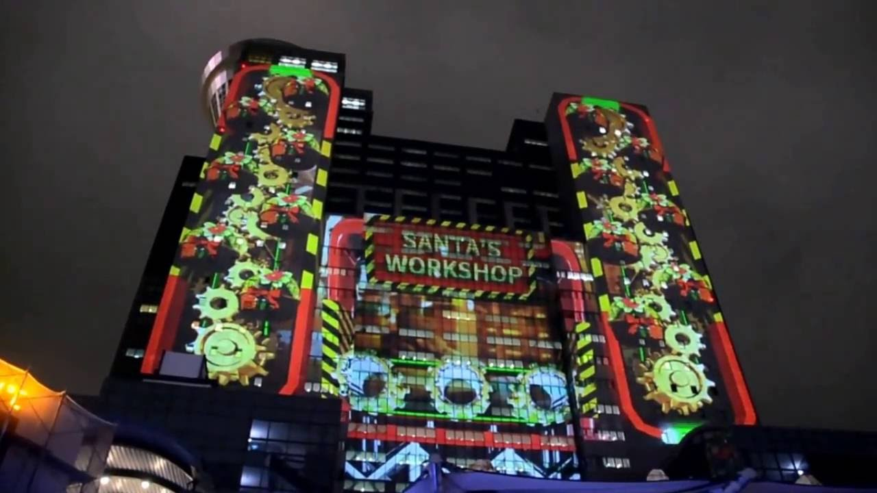 歡樂耶誕城測試光雕 桑塔熊奇幻旅程 - YouTube
