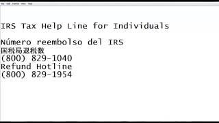 IRS Refund Phone Number Número reembolso del IRS 国税局退税数 Dónde está mi reembolso