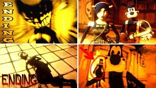 Bendy and the Ink Machine ALL ENDINGS (CHAPTER 1-4)