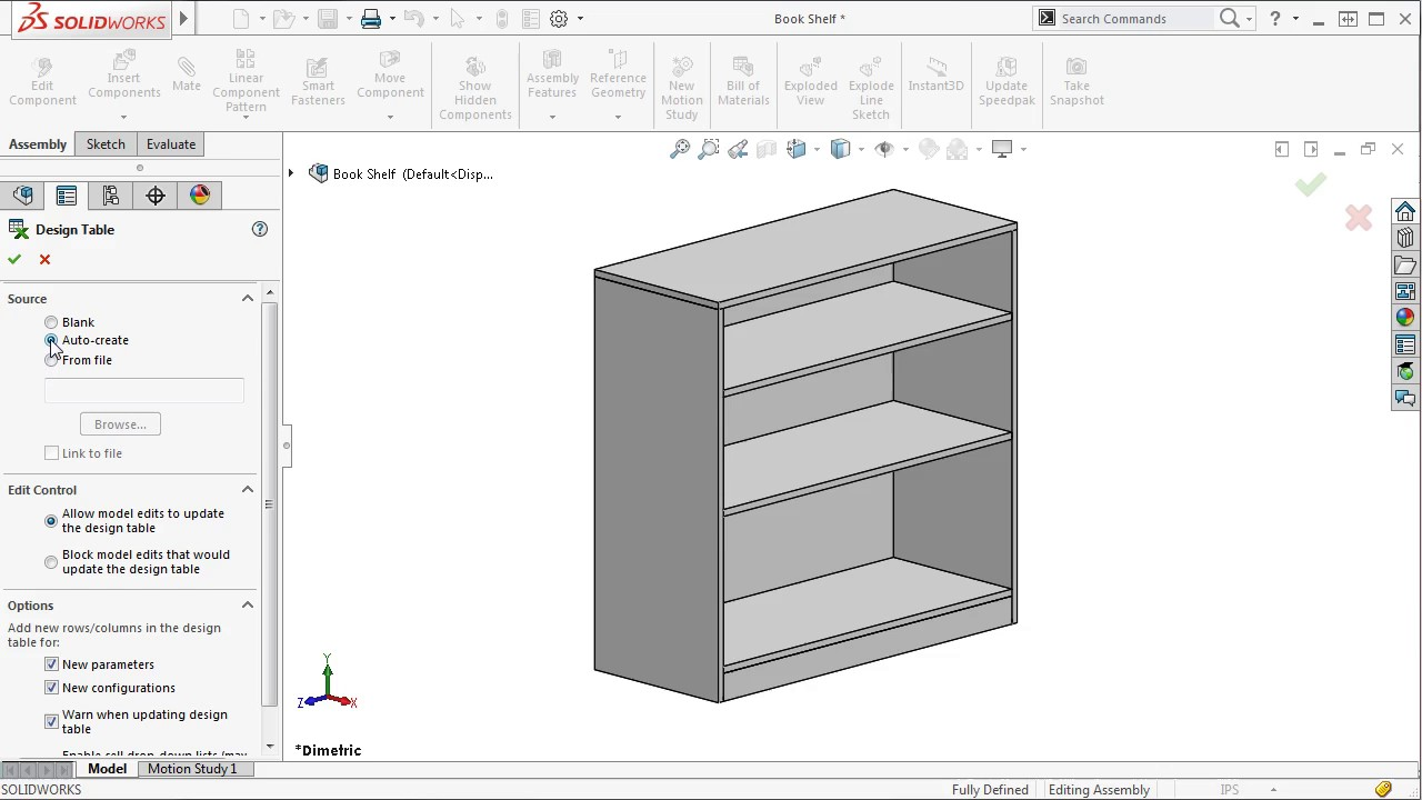 Design Table Solidworks Assembly Design Tables In Solidworks 2016 - Youtube