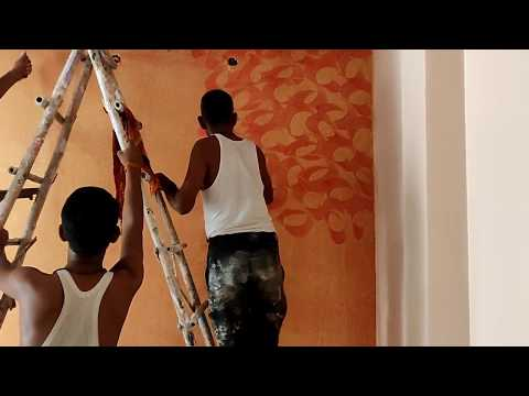 Texture Painting On Wall Red Base Golden Top | Full Process | Asian Paints Texture.