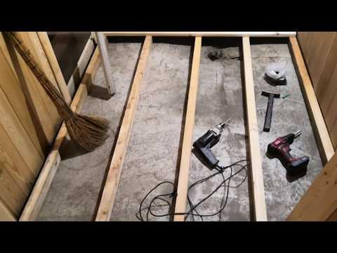 крутая баня из гаража (часть 7 пол)