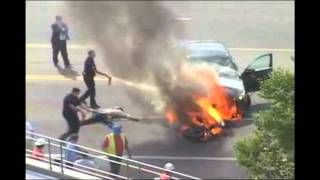 Crowd Lifts Burning Car To Save Biker's Life Video