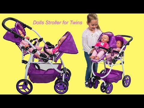 Twin Baby Dolls go for a walk Dimples Ella Tandem Dolls Stroller Little Girl and Dolls Pretend Play