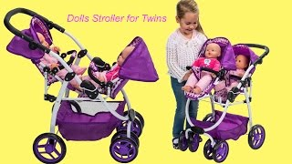 Dimples Ella Tandem Dolls Stroller Twin Baby Dolls go for a walk Little Girl and Dolls Pretend Play